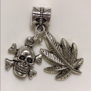 Skeleton, Maple leaf Charm Fit Pandora Bracelet